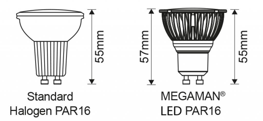 Reflector PAR16 MM09680 led vs halogeen